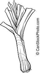 leek vegetable cartoon for coloring book - Black and White...