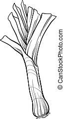 poireau, légume, dessin animé, coloration,...