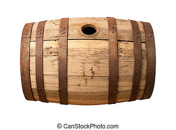 Old Wooden Barrel isolated on white with a clipping path