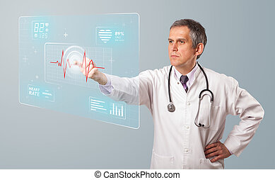 Middle aged doctor pressing modern medical type of button -...