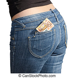 Fifty euro banknotes in jeans back pocket isolated on white