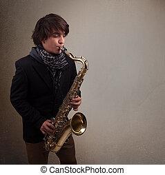 mládě, Hudebník, Hraní, saxofon