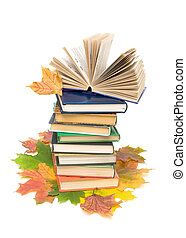 autumn leaves and books. vertical photo. - bright autumn...