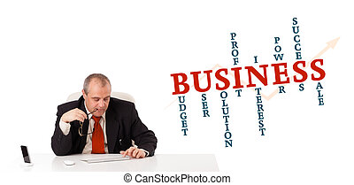 businesman sitting at desk with business word cloud,...