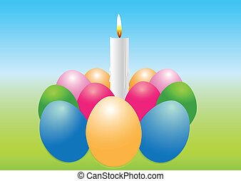 Easter egg with a candle