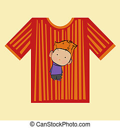 t-shirt boy strips - striped t-shirt with a picture of a boy