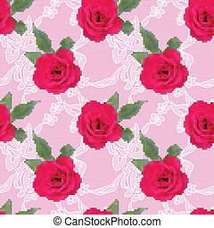 Fabric seamless pattern with embroidered roses
