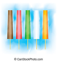 set of colorful popsicles vector