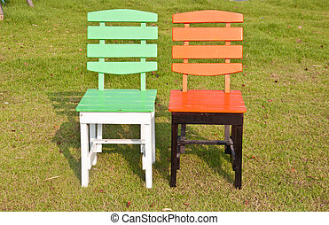 Green and orange chair