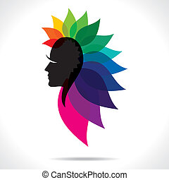 abstract face with colorful leaf stock vector