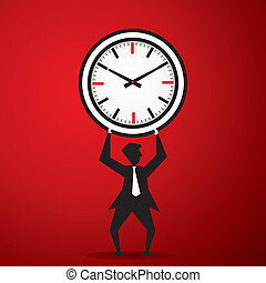 Big clock on man - Big clock on nam stock vector