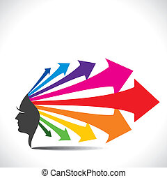 face with colorful arrow hair - Abstract face with colorful...