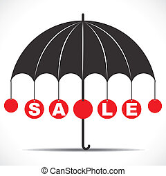 Sale text with umbrella stock vector