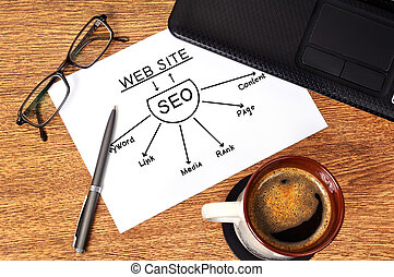 Note graph seo on table businessman