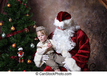 Santas Lap - Toddler in Old Fashioned Knickers Outfit,...