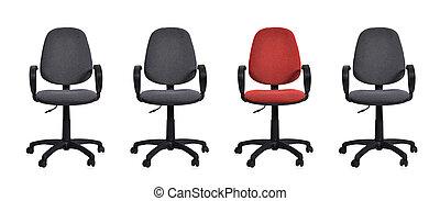 Quatro, cadeira, escritório