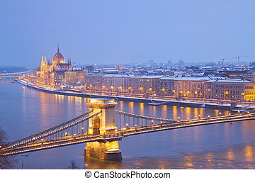 cityscape of Budapest, Hungary - parliament building and...
