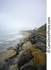 Lone Surfer in San Clemente on a Foggy Day