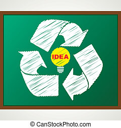 recycle symbol with bulb sketch