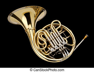 Corno_7501 - Horn, wind instrument On a black background