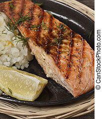 Grilled Salmon Fillet With Potatoes,Close Up