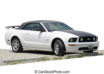 Isolated Mustang convertable - A isolate mustang on a...
