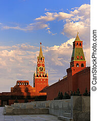 Red square, Moscow, Russia - Spasskaya tower of Moscow...