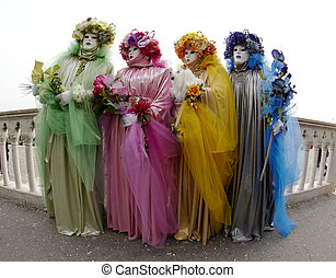 Four Colored Ladies Venice Carnival