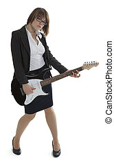 Young business lady with an electric guitar