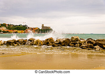 Lerici in Liguria, Italy - Lerici in Liguria with houses,...