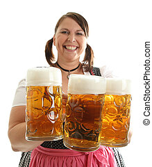 Bavarian Waitress with load of beer - Bavarian Waitress with...