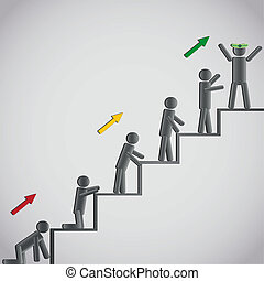 Business concept, icons men on staircase - Business concept...