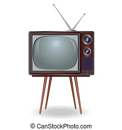 Realistic vintage TV isolated on white background, retro.