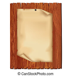 Sheet of old paper on wooden board, isolated on white...