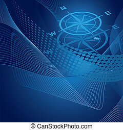 Blue compass on swirls background - Blue compass on swirls...