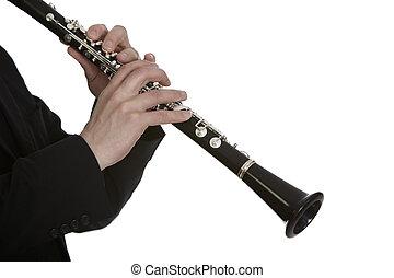 clarinete, jugador, frente, blanco, Plano de fondo