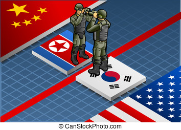 Isometric korea crisis - Detailed illustration of a...
