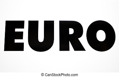 European currency in text on white background, euro and...