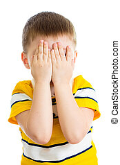 Kid crying or playing  with hiding face isolated