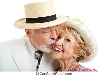 Southern Senior Couple Kissing - Senior couple from the...