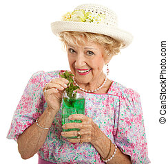 Kentucky Senior Lady with Mint Julep - Sweet Southern lady...