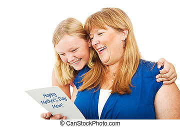 Teen Gives Mothers Day Card to Mom - Pretty blond teenage...