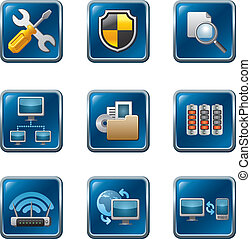computer network icon set - computer network buttons icon...