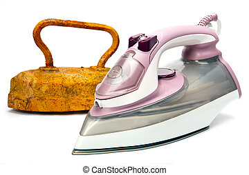 Old rusty pig-iron iron and modern new electric iron on white background