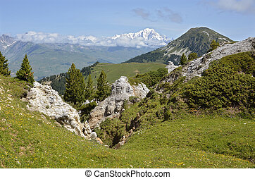 Mountains at La Plagne in France - Mountains in the french...
