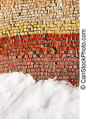 Old colorful mosaic outdoors in winter