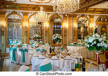Luxurious interior. - Served for banquet tables in a...
