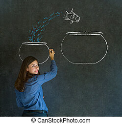Woman with jumping fish bowl - Business woman, student or...