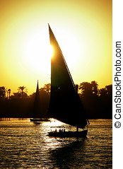 Felucca on the Nile at dusk