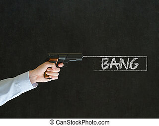 Man pointing a gun with bang sign - Business man, student or...